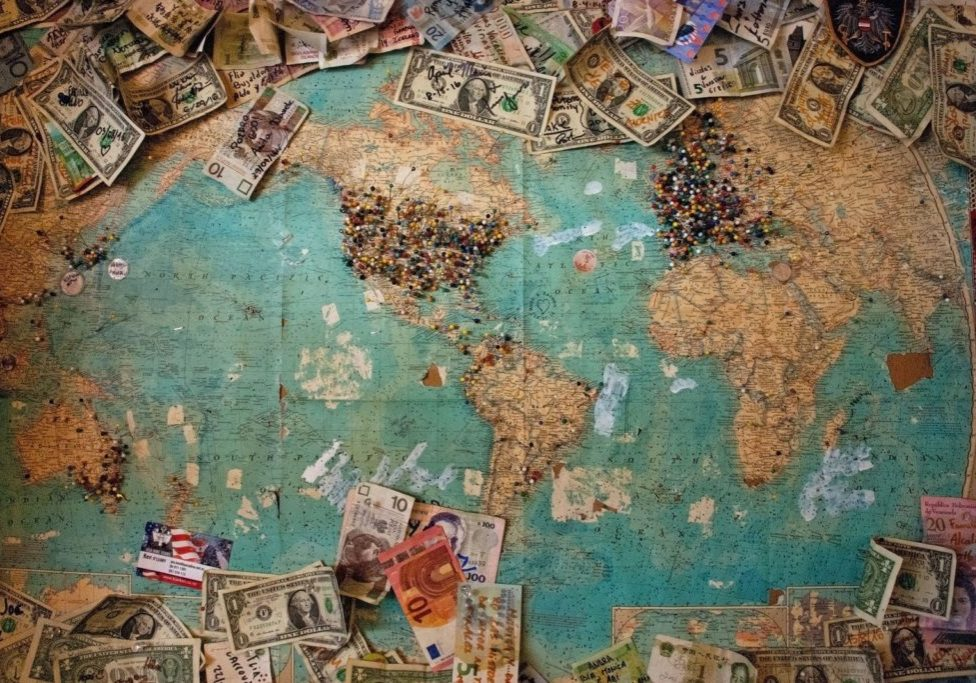 world map with currency