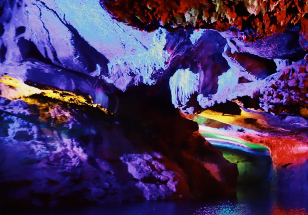 stunningly colorful cave pool